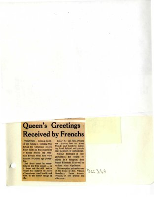 Queen's Greetings received by Frenchs
