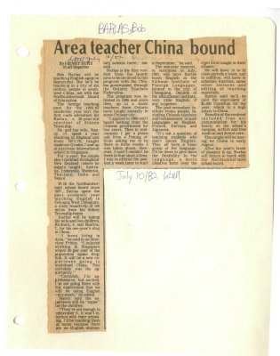 Area Teacher China Bound