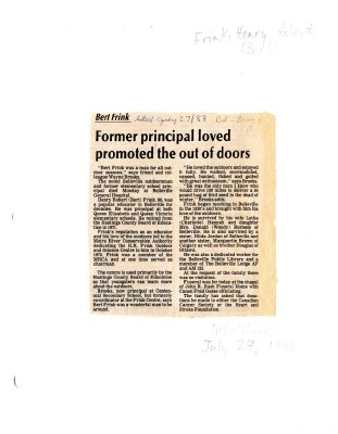Former principal loved promoted the out of doors