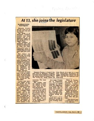 At 13 she joins the legislature