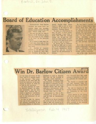 Board of Education Accomplishments win Dr. Barlow Citizen Award