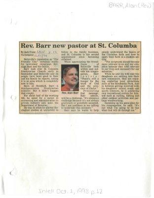 Rev. Barr new pastor at St. Columba