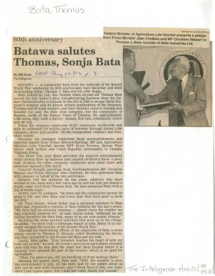Batawa salutes Thomas, Sonja Bata
