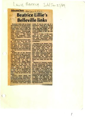 Educated here: Beatrice Lillie's Belleville links
