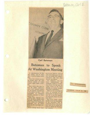 Bateman to speak at Washington meeting