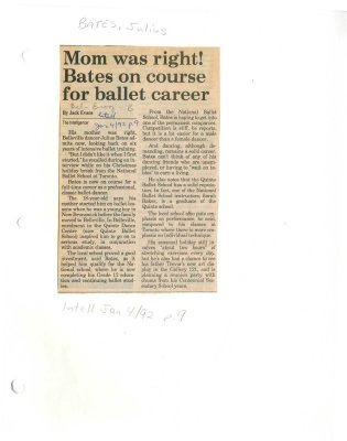 Mom was right? Bates on course for ballet career