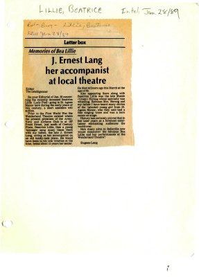 Memories of Bea Lillie: J. Ernest Lang her accompanist at local theatre