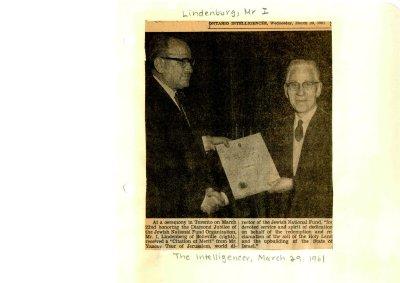 I. Lindenberg - Citation of Merit