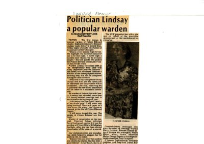Politician Lindsay a popular warden