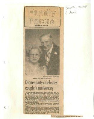 Dinner party celebrates couple's anniversary