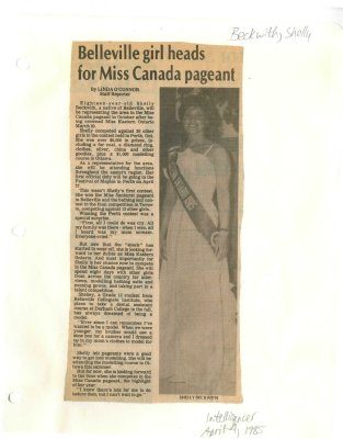 Belleville girl heads for Miss Canada pageant