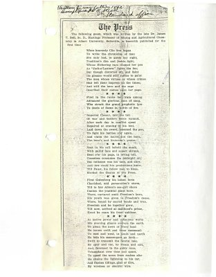"The PressL poem written by ""the late Dr. James T. Bell, Sc.D., Hastings Professor of Mining and Agriculture Chemistry in Albert University, Belleville"""