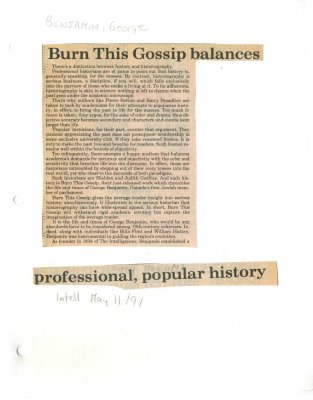 Burn This Gossip balances professional, popular history