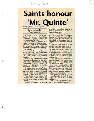 Saints honour Mr. Quinte