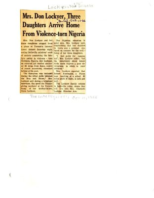 Mrs. Don Lockyer, three daughters arrive home from violence-torn Nigeria