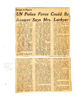 UN Police Force could be answer says Mrs. Lockyer