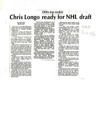 Chris Longo ready for NHL draft
