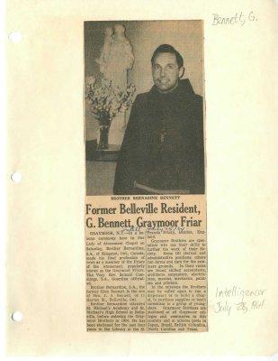 Former Belleville Resident G. Bennett, Graymoor Friar