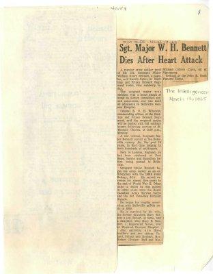 Sgt. Major W. H. Bennett dies after heart attack