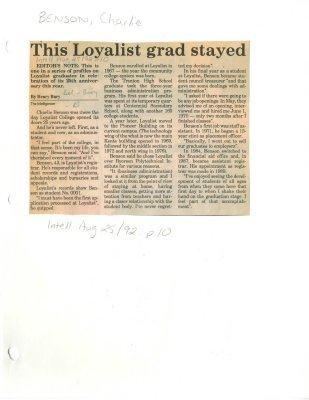 This Loyalist grad stayed