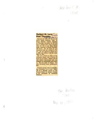 Herbert M. Love died Thursday