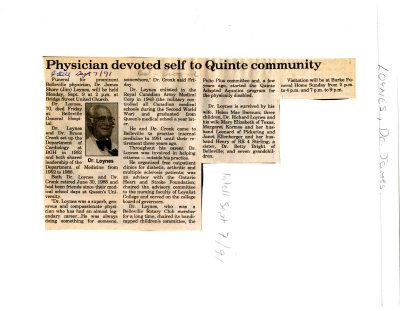 Physician devoted self to Quinte community