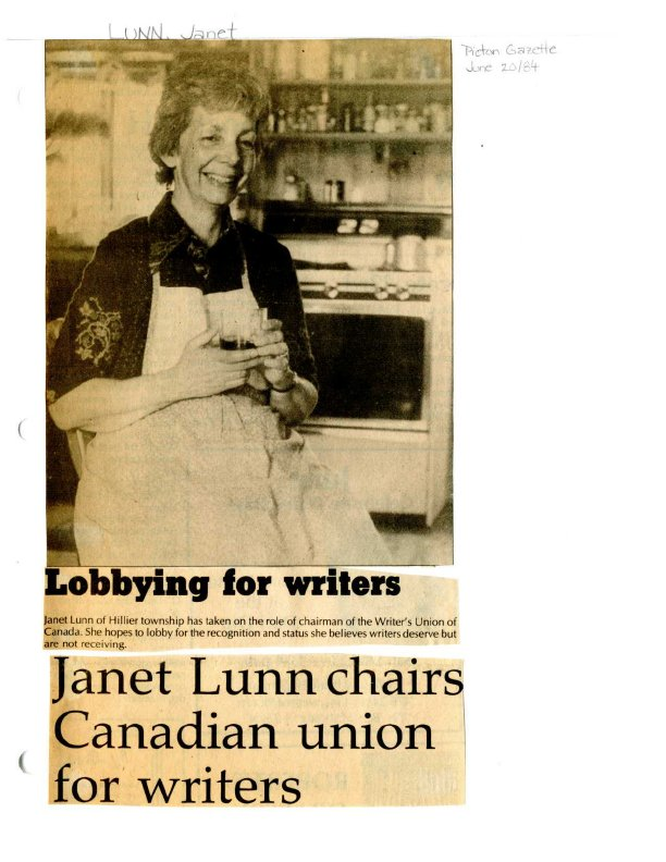 Lobbying for writiers - Janet Lunn chairs Canadian union for writers