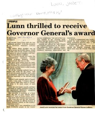 Lunn thrilled to receive Governor General's award