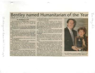 Bentley named Humanitarian of the Year