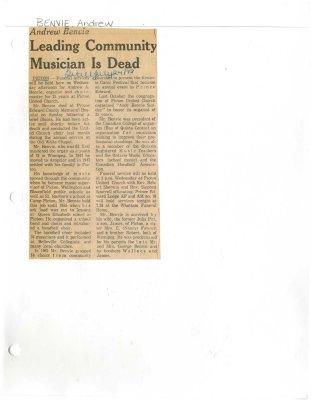 Leading community musician is dead