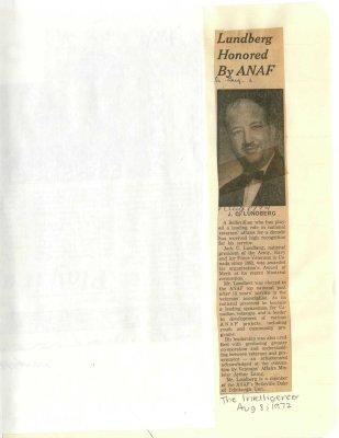 Lundberg honored by ANAF