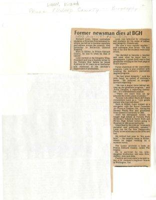 Former newsman dies at BGH