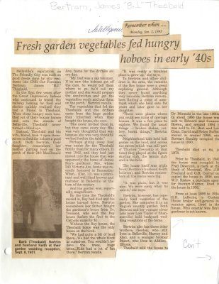 Remember When: Fresh garden vegetables fed hungry hoboes in early '40s