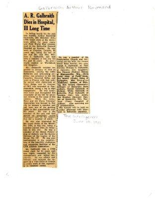 A.R. Galbraith dies in hospital, Ill Long Time