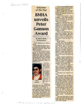 BMHA unveils Peter Gannon Award