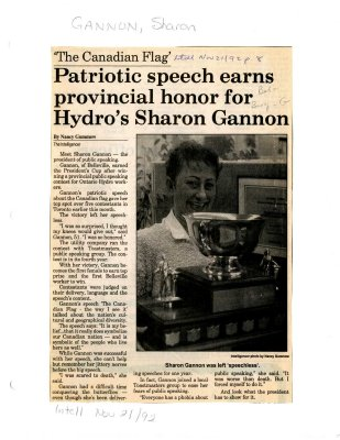 Patriotic speech earns provincial honor for Hydro's Sharon Gannon