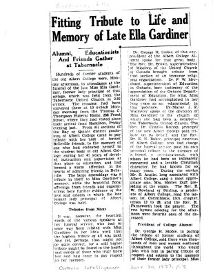 Fitting tribute to life and memory of late Ella Gardiner
