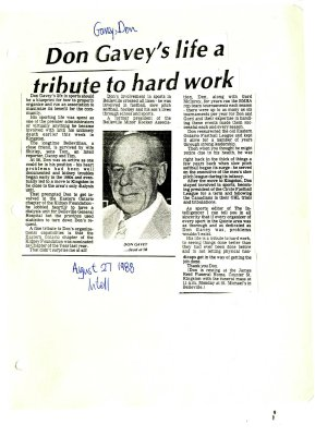 Don Gavey's life a tribute to hard work