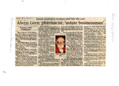 "Alwyn Geen: pharmacist, ""astute businessman"""