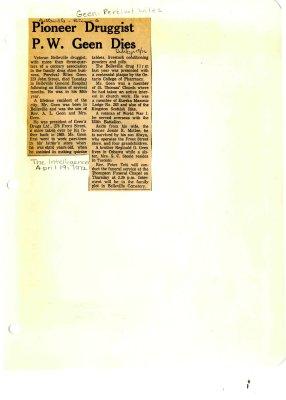 Pioneer Druggist P.W. Geen dies