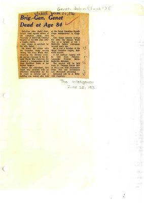 Brig.-Gen. Genet dead at age 84