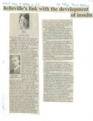 Belleville's link with the development of insulin