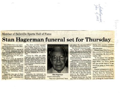 Stan Hagerman funeral set for Thursday