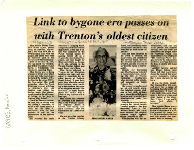 Link to bygone era passes on with Trenton's oldest citizen