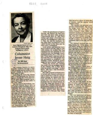 Columnist Irene Haig