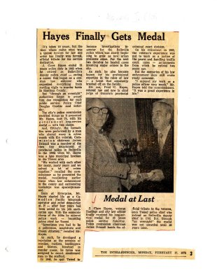 Hayes finally gts medal