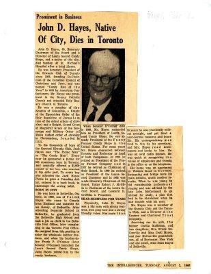 John D. Hayes, native of city, dies in Toronto