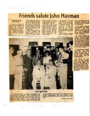 Friends salute John Hayman