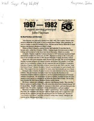 1967-1982 Longest serving principal John Hayman