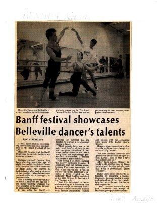 Banff festival showcases Belleville dancer's talents